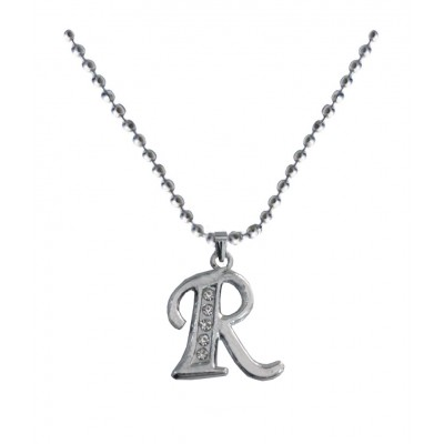 Silver  R - Alphabet Pendant
