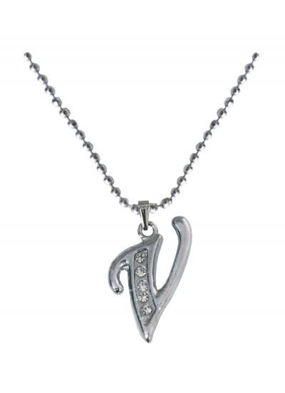 Silver  V- Alphabet Pendant
