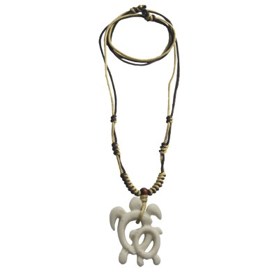 Menjewell Tribal Collection Multicolor Artificial Bone Carved Style White Turtle Design With Adjustable Cotton Dori Pendant