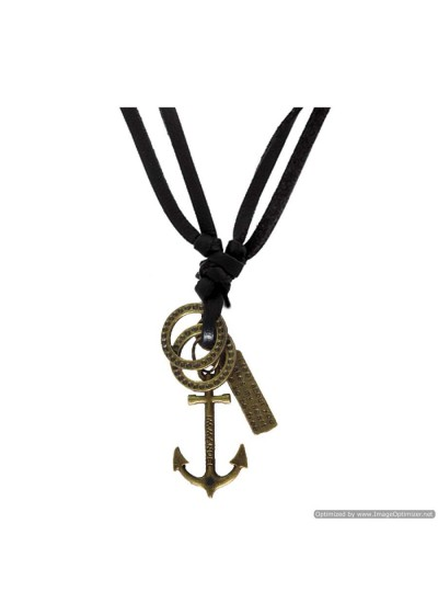 Bronze Anchor Fashion Pendant With Leather String  Anchor Maritime Ship Pendant