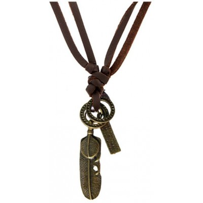 Elegant  Bronze  Feather Fashion Pendant With Leather String
