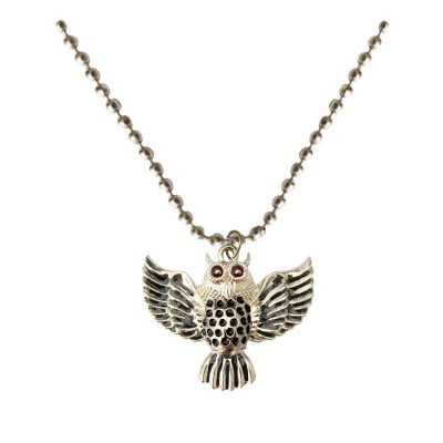 Silver::Black Owl Fashion Chain Bird Pendant