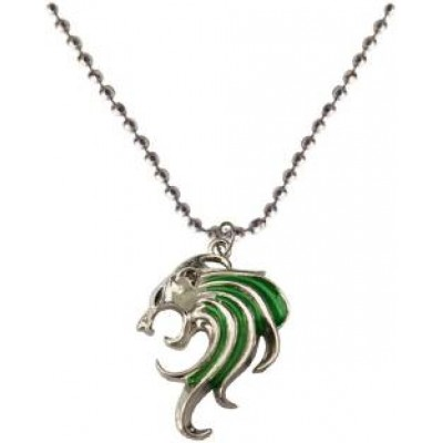 Elegant  Silver::Green  Lion Fashion Chain Pendant