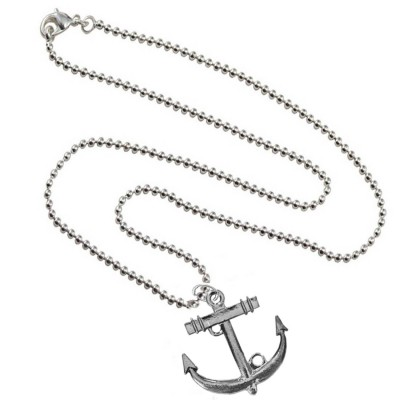 Grey  Oxidized Anchor Fashion Pendant