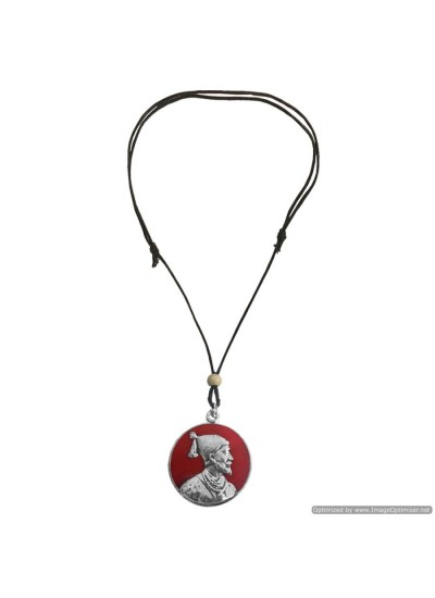 Menjewell Indian Warrior King Multicolor Chhatrapati Janata Raja Shivaji Maharaj Pendant With Adjustable Cotton Dori Fashion Pendants