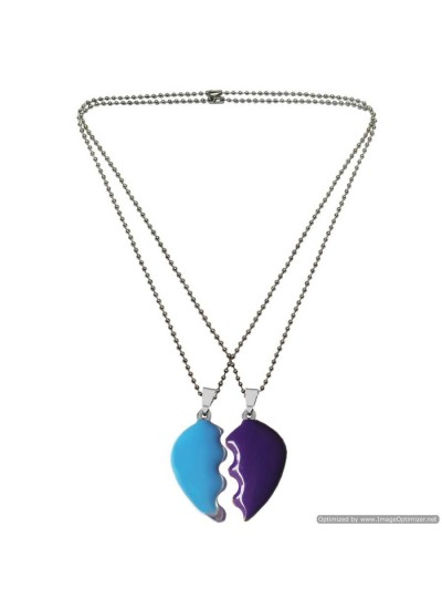 Menjewell Multi Color Couple Broken Heart Dual Pendant