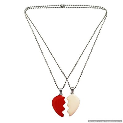 MENJEWELL MULTI COLOR COUPLE BROKEN HEART DUAL PENDANTS