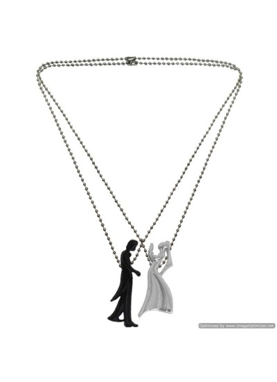 Romantic Ballroom Dancing Musical Couple 2 Pcs Stainless Steel Love Pendant Set