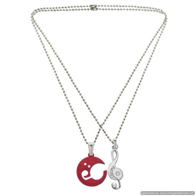Couple Jewelley Silver & Maroon Music Lovers Moon & Musical Clef Stainless Steel Rhinestone Love Pendant Set