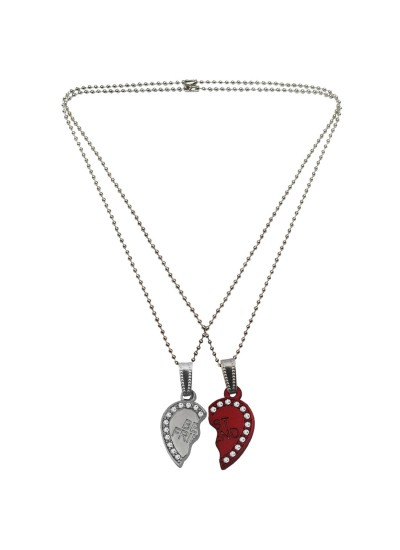 Menjewell Couple Heart 'Best Friends Forever' Broken Heart Pendant