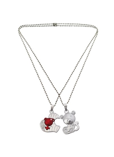 Menjewell Couple Heart Silver & Maroon Cute Teddy Bear Broken Heart Pendant