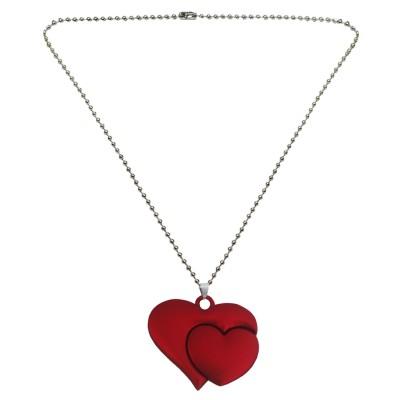 Menjewell Silver & Maroon Love Heart In Heart Shape Pendant