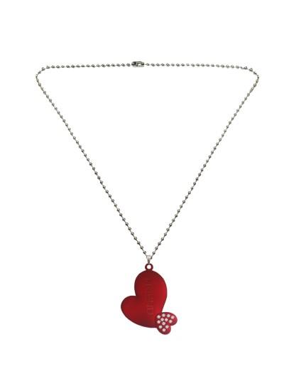 """Menjewell Silver & Maroon """"Friend"""" Letter In Heart Love Pendant"""
