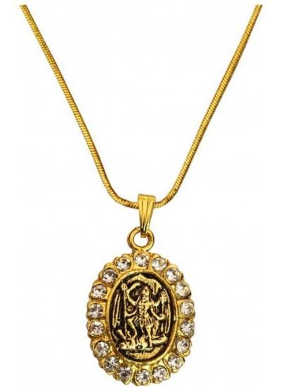 Elegant  Gold  Gold Plated Stone Studded Kaali Mata Pendant