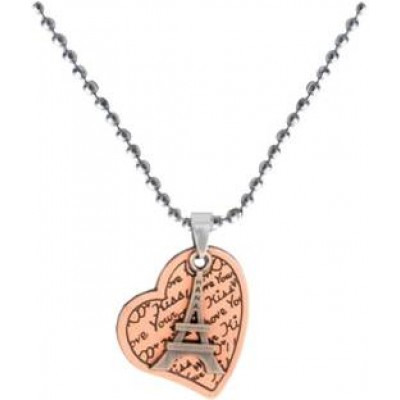 Elegant  Copper  Heart and Effiel Tower Designed Fashion Chain Pendant