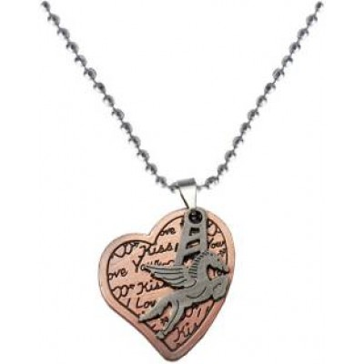 Elegant  Copper  Heart and Flying Horse Designed Fashion Chain Pendant