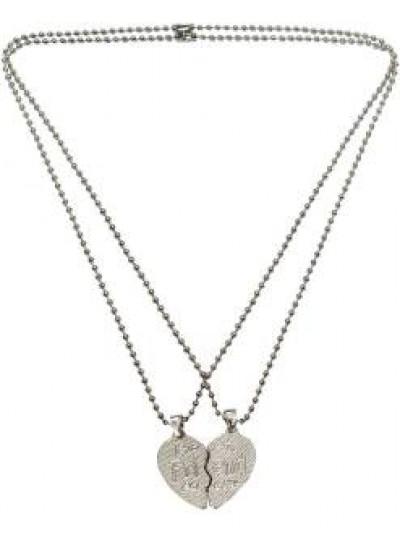 Elegant Silver::Black Best Friend Fashion Broken Heart Dual Pendants
