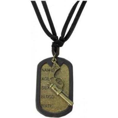 Black::Bronze  Name Tag With Gun Fashion Fashion Pendant