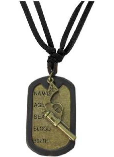 Black::Bronze  Name Tag With Gun Fashion Fashion Pendant