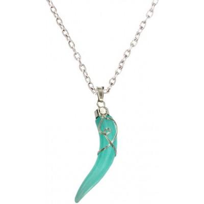 Elegant  Silver::Green  Wolf Tooth Fashion Pendant