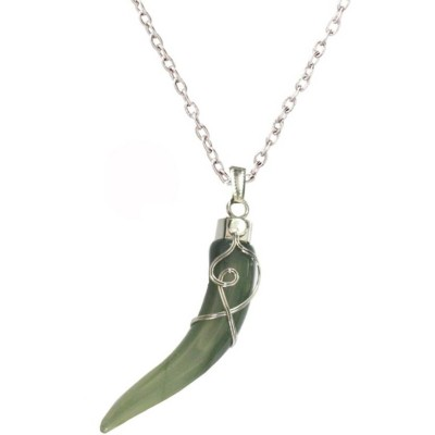 Elegant  Silver::Green  Wolf Tooth Fashion Pendant