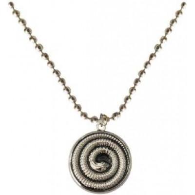 Silver::Black  Round snake Fashion Chain Pendant