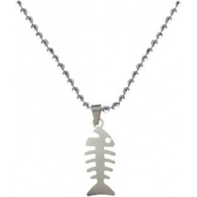 Silver  Fish Bone Fashion Chain Pendant