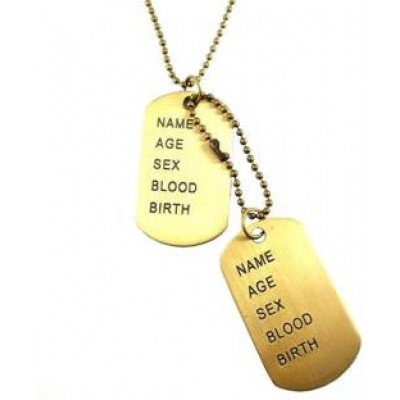 Gold  Name Tag  Chain Pendant
