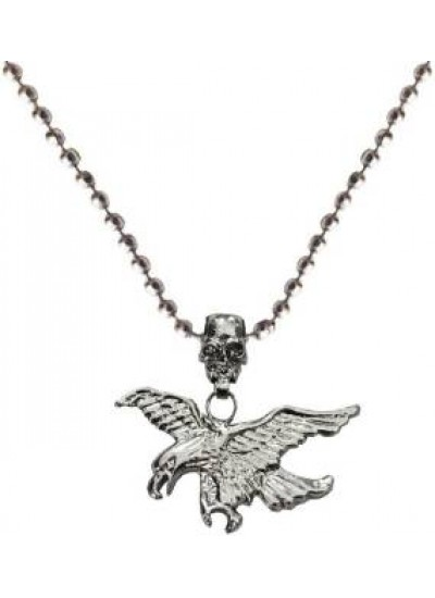 Elegant Silver Eagle With Human Skull Fashion Birds Pendant