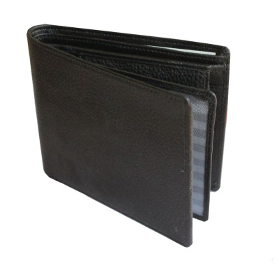 Menjewell Rich & Stylish Black Genuine Leather Wallet (8 Card Slots)