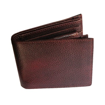 Menjewell Rich & Stylish Brown Black Genuine Leather Wallet For Men (7 Card Slots)
