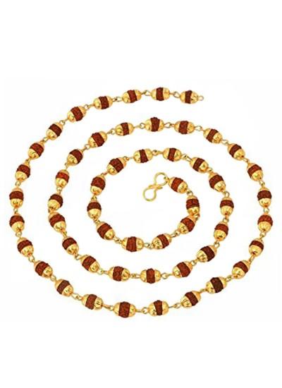 fd023cf22c49 Menjewell Rudraksha Jewellery Colllection Gold   Brown Gold Cap Rudrksha  Slim Japa Mala Mala