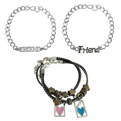 Menjewell Friend Letter Design With Bracelet Combo