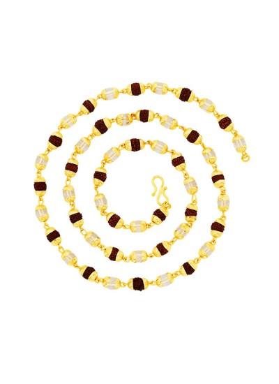 9fd7fd32e92c Menjewell Rudraksha Jewellery Colllection Multicolor Rudraksha   Crystal  With Gold Cap Japa Mala